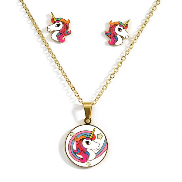 unicorn Round card pendant necklace earrings set suitable for ladies and children titanium steel Cartoon necklace jewelry