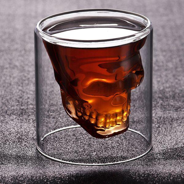 75ml Creative skull glass transparent Double wall Skull Wine Cups heat resistant Cocktail Cup Mug juice coffee Wine Glasses LJJA3760
