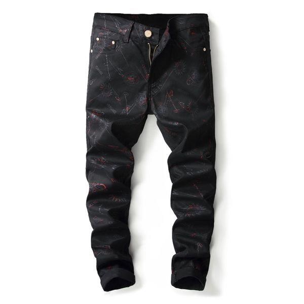 2019 Hot Sale Men's Hip Hop Denim Pants High Quality Punk Rock Nightclub DJ Letter Printed Pattern Slim Jeans Motorcycle Jeans