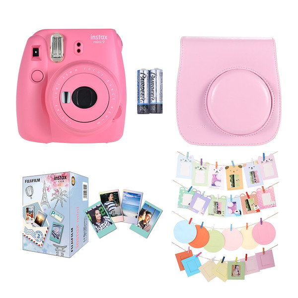 2018 Pink Instax Mini 9 Instant Camera Film Cam +Leather Camera Case+30*Instant Film Photo Paper+Camera Accessories Kit