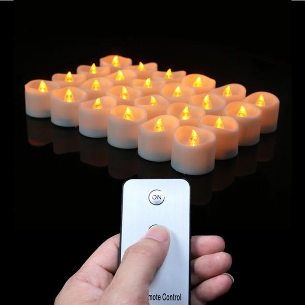 Paquete de 12 o 24 Batería velas votivas con las velas alejado, el LED remoto, pequeñas luces de té, Velas del partido, Electrónica Velas SH190924 remoto