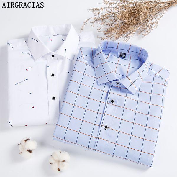 AIRGRACIAS Men Plaid Shirt 2018 Spring Autumn Casual Long Sleeve Shirts Soft Comfort Slim Fit Camisa Brand Man Clothes 4XLMX190829