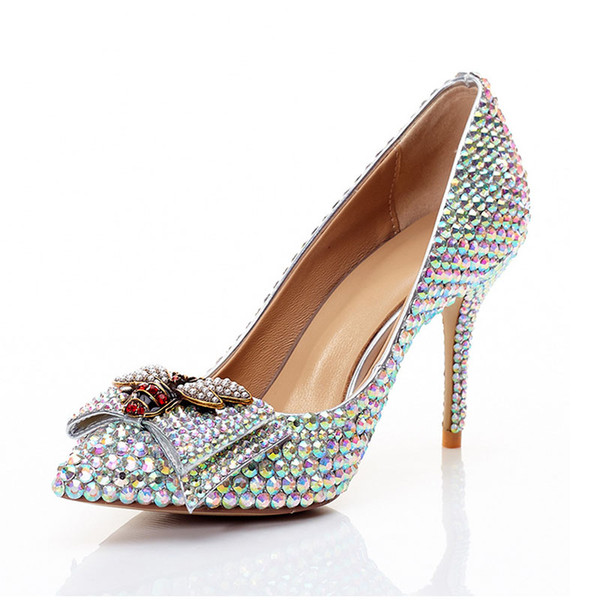 Shinning Ab Crystal Pointed Toe Wedding Shoes Woman Bride Fashion