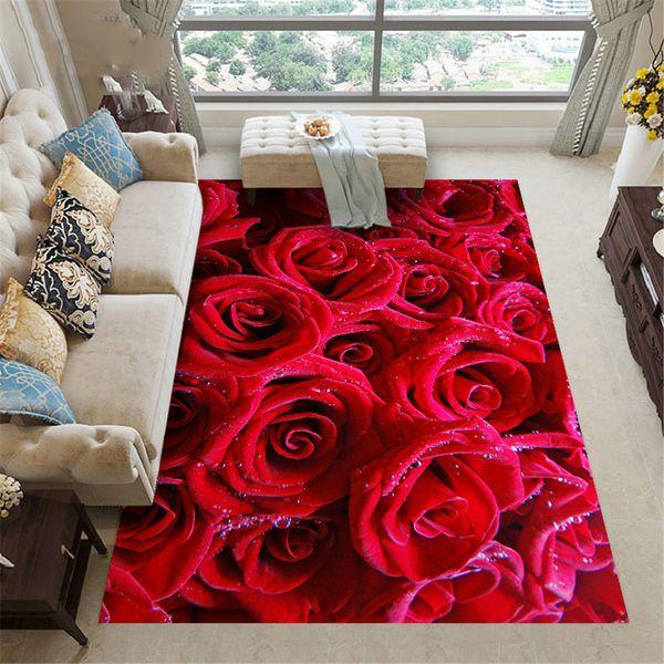 Wishstar la zona Red Rose Alfombra Alfombra de flores Alfombra de piso para sala de estar Sofá alfombra de la sala chica 3D Al lado de la cocina Mat Alfombras antideslizante