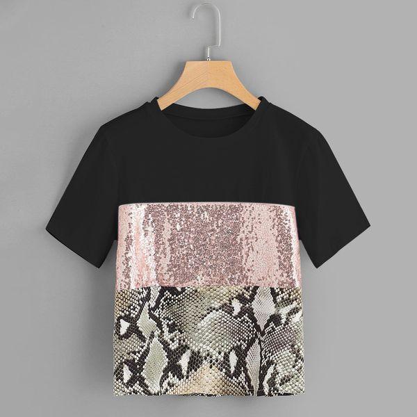 Tshirt Short Sleeve Women T-shirts Women's Plus Size Pacthwork Snake Sequin T-shirt Streetwear Clothes Summer Shirts Tops Femme Y19051104