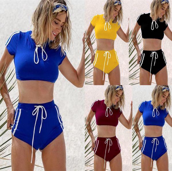 Mulheres Ternos Esportivos Roupa de Banho Conjuntos de Biquíni Colheita Tops Shorts Quentes 2 pcs Roupas de Biquíni