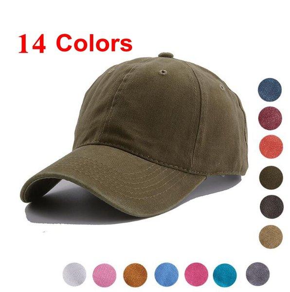 Gewaschene Baumwolle Baseball Mützen 14 Farben Sommer Outdoor Hysteresenhüte Einfarbig Vintage Visier Caps OOA6787
