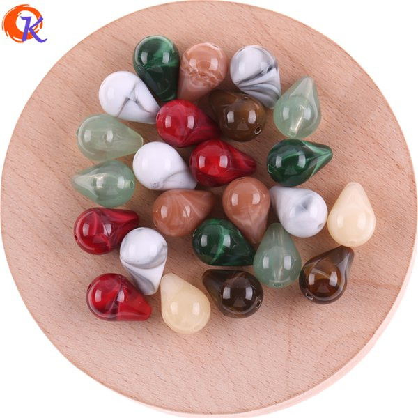 wholesale New Fashion 11x16MM 200Pcs/Lot Water Drop Earring Accessories Acrylic Marble Effect Bead For Jewelry Making