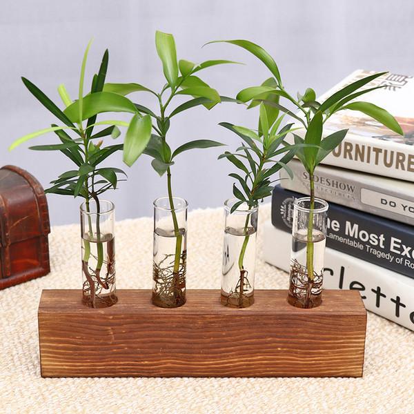 Creative Hydroponic Plant Transparent Vase Wooden Frame Coffee Shop Room Decor decoratio Glass Tabletop Plant Bonsai Decor