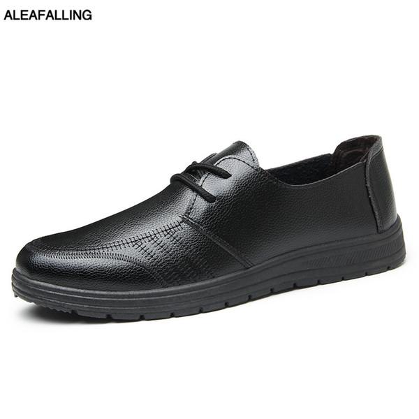 Aleafalling erkek Elbise Ayakkabı Yumuşak Nubuk Deri Ofis Bahçe Mutfak Ayakkabı Için Gentleman Kolayca Roud Toe çocuğun 19143