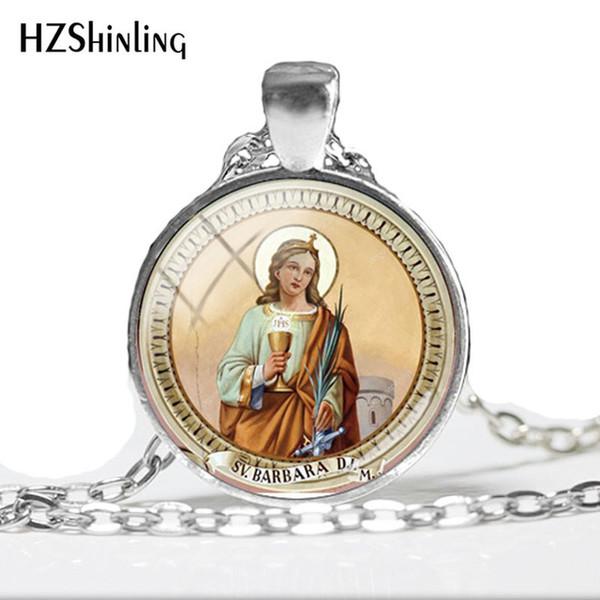 2019 NEW Saint Barbara Glass Photo Cabochon Necklace Barbara Art Printed Photo Pendant Kazanskaya Vintage Glass Necklace HZ1
