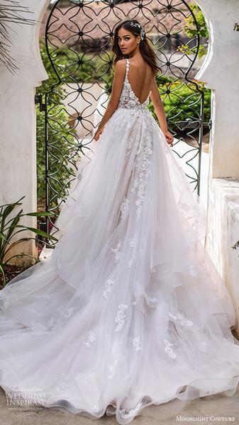 2019 шикарные простые мягкие тюль пляжные свадебные платья спагетти strp иллюзия с v-образным вырезом лиф спинки летние свадебные платья часовня поезд