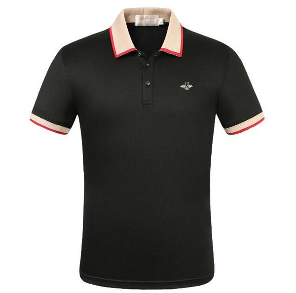 Роскошная мужская рубашка дизайнер Polo Футболка с лацканами с короткими рукавами 2019 Европейская и американская мода повседневная высококачественная брендовая рубашка Polo T