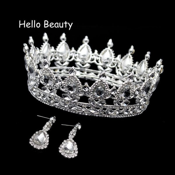 Clear Crystal Luxury Hair Jewelry Round Rhinestones Wedding Tiaras And Crowns Bridal Quinceanera Pageant Queen Tiara For Bride J 190430