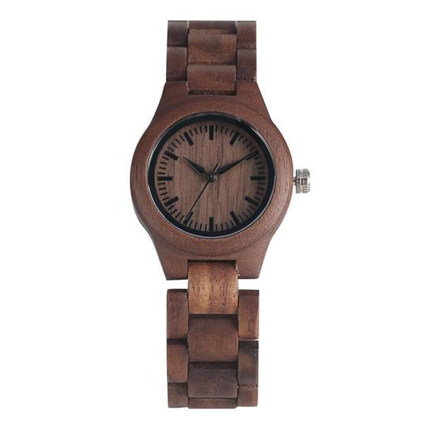 Vintage Coffee Walnut Wood Quartz Analog Watches Unique Red Dial Wood Strap Wristwatch Natural Eco-friendly Walnut Wooden Watch for Women