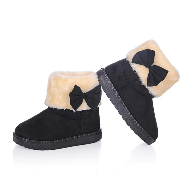 Winter Girls Snow Boots Classic Candy Colors Children Warm Cotton Boots With Bowtie Kids Fashion Princess Sweet Antiskid