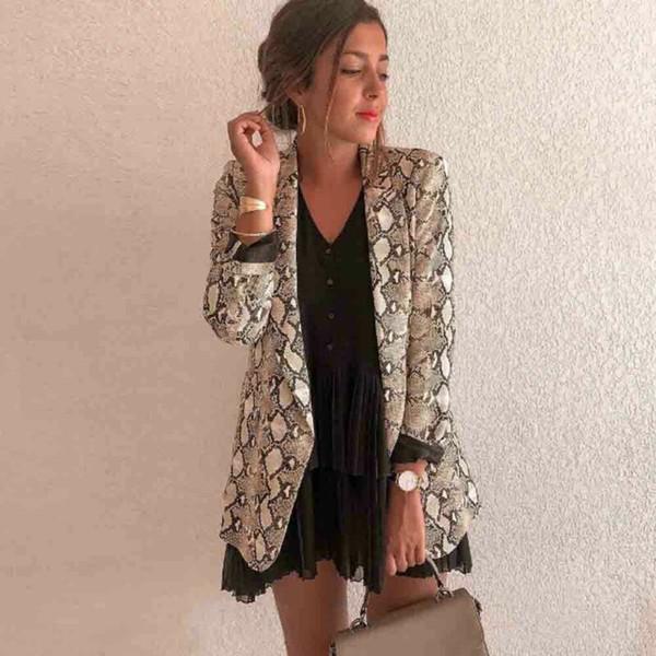 2019 Женская мода Женская змеиной с длинным рукавом Тонкий костюм кардигана пальто осень офис куртки