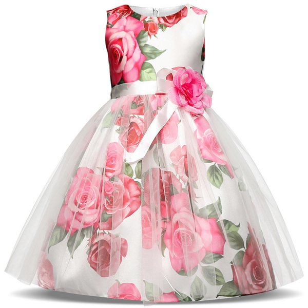 New Summer Children Dresses Girls Kids Formal Wear Princess For Girl 4 6 7 8 Years Birthday Party Events Prom Dress Q190522