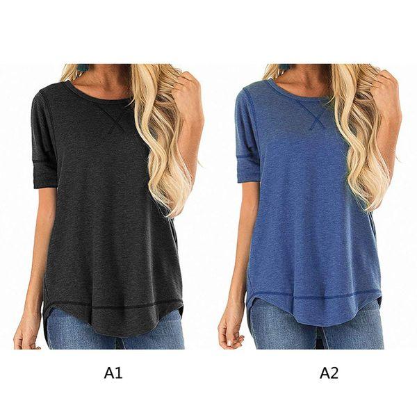Maglietta da donna Estate Maglietta a manica corta Cucita Maglietta casual Maglietta allentata Maglietta semplice da donna Tee