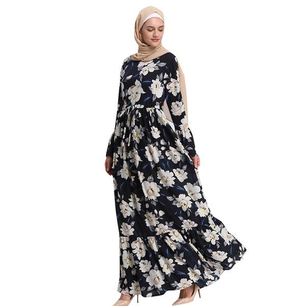 heißer verkauf muslimischen kleid frauen 2019 lange maxi kleid robe abaya islamische blume dubai strickjacke femme muslim kleidung ramadan neu