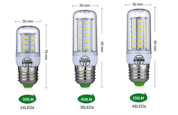 E27 E14 Bombilla LED SMD5730 220 V Bombilla de maíz 24 36 48 56 69 72 LEDs Vela de la lámpara de luz LED para la decoración del hogar ampolla