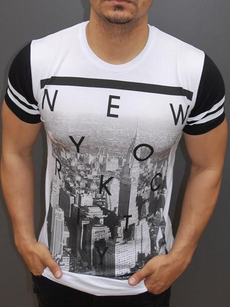 NEW YORK Cartas Camisas Dos Homens T de Moda de Verão de Manga Curta Tops O-pescoço Impresso Tops Tees
