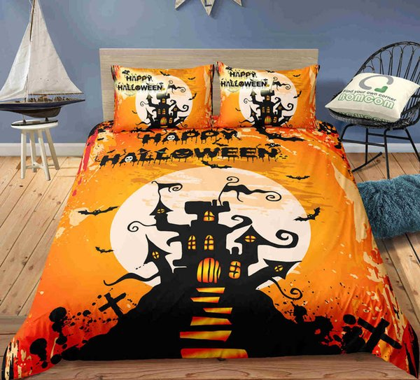 Yellow orange castle Bedding Set Twin Full Queen Size 3D print Duvet Cover Set happy halloween gift for kids of Bedding Supplies