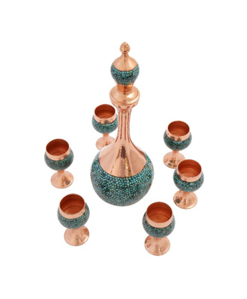 Antique, very spechial,handmade and cultural wine set including 7 cups + 1 big jug made in India