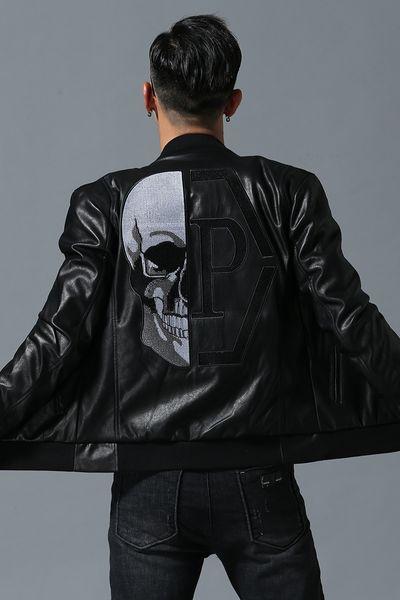 Männer Lokomotive Mantel Freizeit Leder Jacken Reißverschluss Lässige Winter Mode Top Jacke tier Stickerei Oberbekleidung Männer Freeshipping