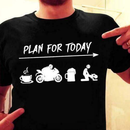 Plan de motorista Para Hoy café bicicletas cerveza divertida de los hombres de la camiseta de algodón S-6XL (1)