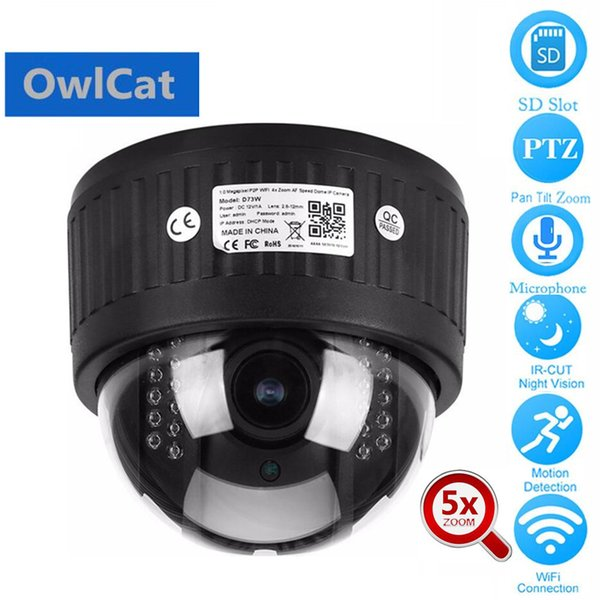 OwlCat HD 1080P Dome PTZ IP Camera Wireless Wifi 5x Zoom 2MP Two Way Audio Talk Microphone SD Slot Onvif P2P Network CCTV Camera