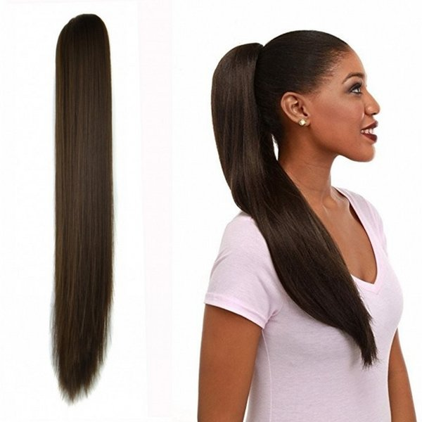 Sara Lady Women Straight Hair Ponytails Claw Clip in Ponytail Hair Extensions Pieces Pony Tail Hair Extension 55CM,22Inch