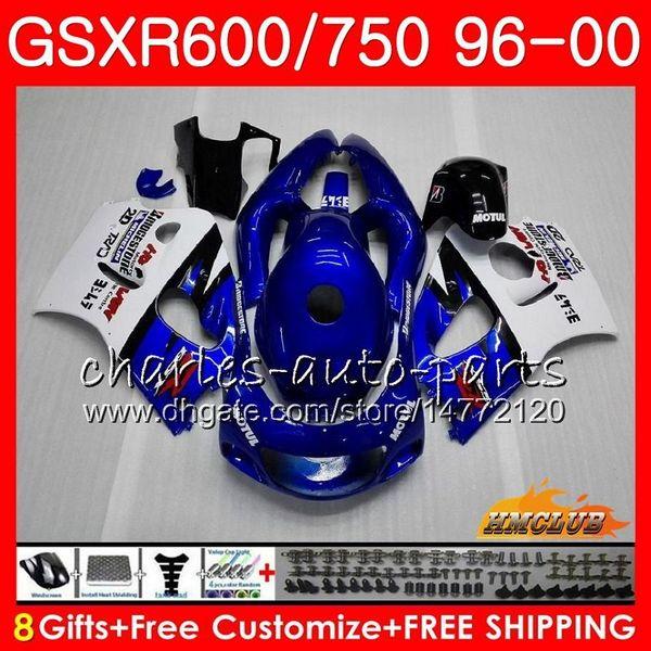 Estoque Azul para SUZUKI SRAD GSXR 750 600 GSXR-600 GSXR750 96 97 98 99 00 1HC.16 GSX-R750 GSXR600 1996 1997 1998 1999 2000 Kit de carenagem