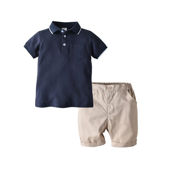 Gentleman's new children's clothing boy's college wind cotton Zhudi POLO shirt short-sleeved cardigan woven shorts two-piece suit