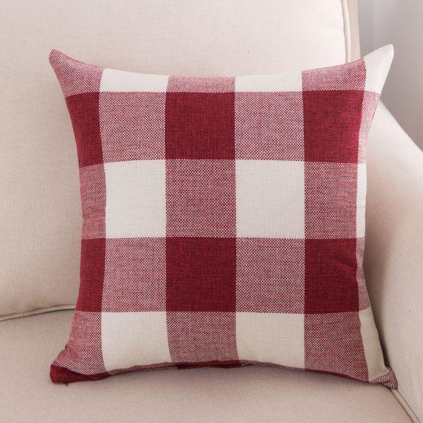300pcs Classic large lattice pillowcase Natural linen home decorative plaid Pillow cover Living room bed office cushion cover 45*45cm