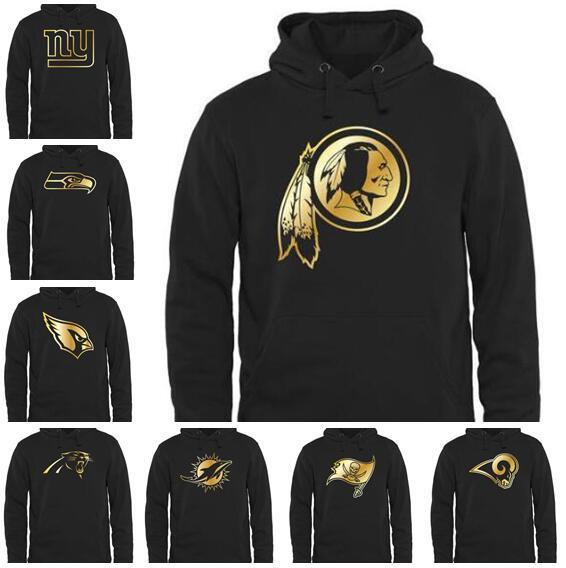 Каролина Сиэтл Майами Бэй Анджелес Мужчины Бараны Buccaneers Дельфины Seahawks Panther Pro Line Черное золото Коллекция Пуловер с капюшоном