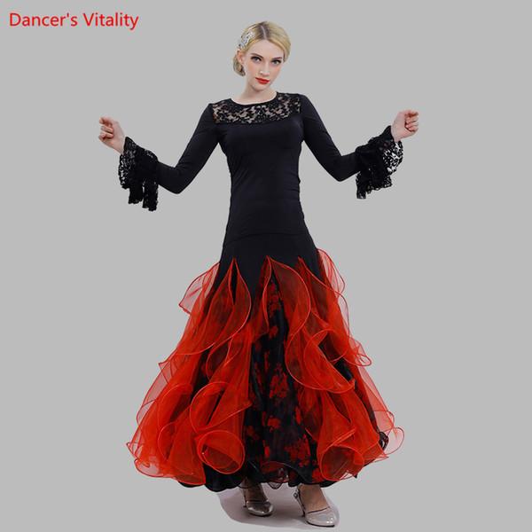 Color : Negro , tama/ño : S Falda de danza del vientre Vestido de traje de traje de baile de sal/ón de baile latino de manga larga para mujer Ropa de baile de manga larga Set de baile profesional