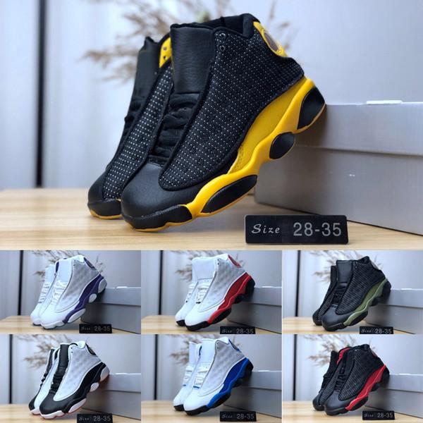 Дети 13 разводили Чикаго Кремни дети мальчик девочки баскетбол обувь 13s DMP серый Toe