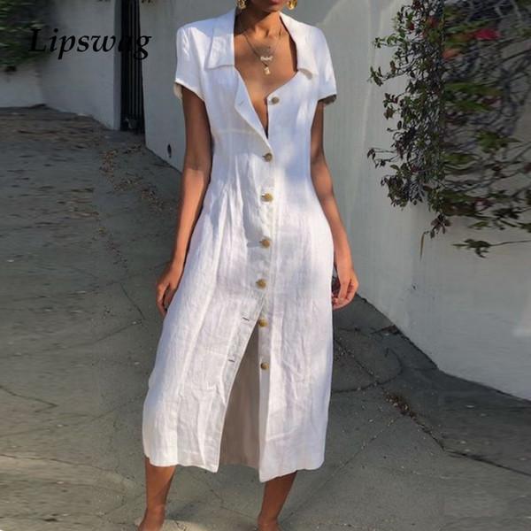 Lipswag 3xl Mulheres Sólida Manga Curta Casuais Solto Botão Com Decote Em V Split Hem Longo Vestido Primavera Verão Feminino Camisa Vestidos Vestido T4190605
