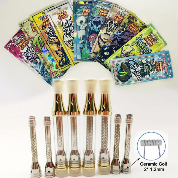 Mario Carts Vape Cartridges 1ml Boş Vape Kalemler Kartuşlar Gravür Logo 510 Hologramlı Yağ Kartuşu Plastik Torbalar Vape Arabaları Ambalajı
