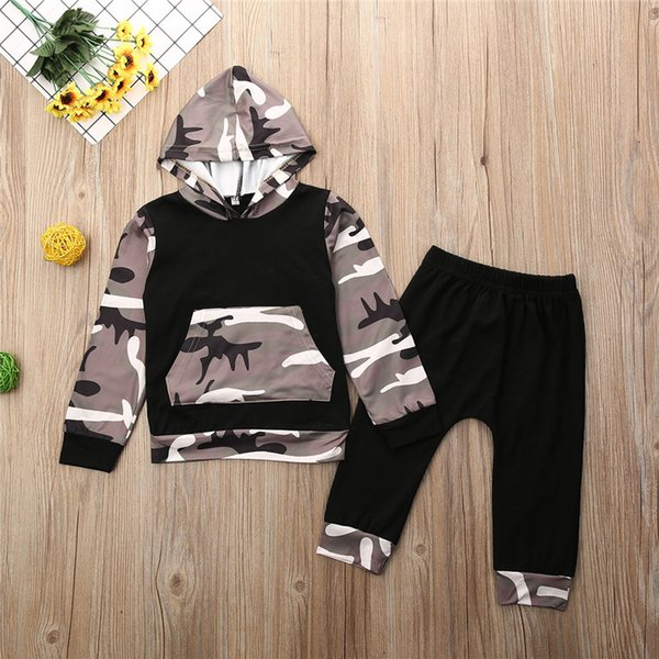 2020 infant clothing newborn set baby boy clothes hooded sweatshirt camouflage pants spring hoodies outfit thumbnail