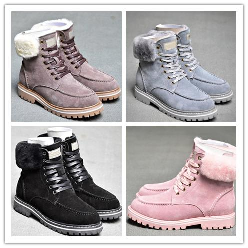 wgg sheepskin ankle boots 2020 winter laceup snow solid leather outdoor womens girl half boots ankle boots black grey pink shoes