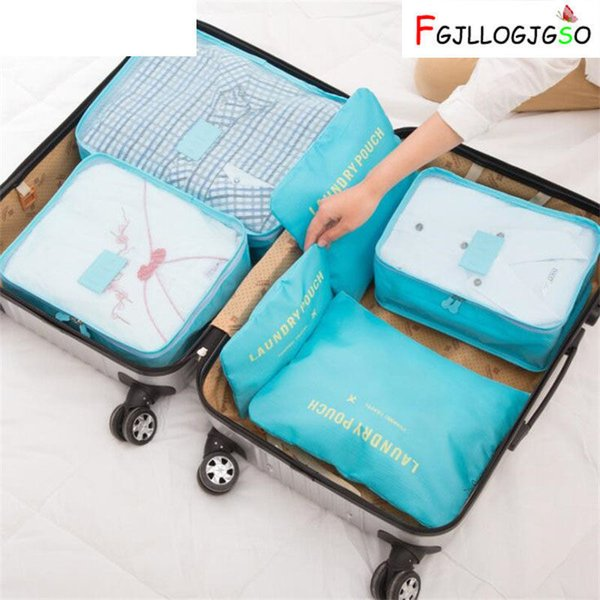 6 Pcs/set Korean Style Travel Packing Organizers Waterproof Nylon Luggage Suitcase Pouch Clothes Finishing Package Accessories