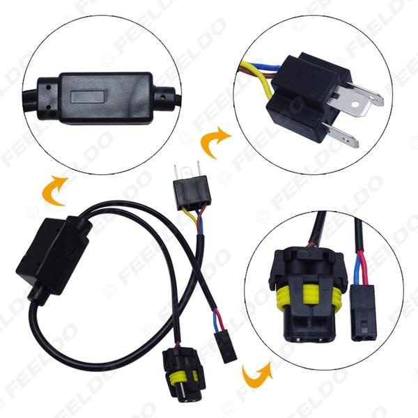 LEEWA 2pcs Simplified H4/9003/HB2 Hi/Lo Bi-Xenon HID Bulbs Relay Harness Wiring Controller #4514