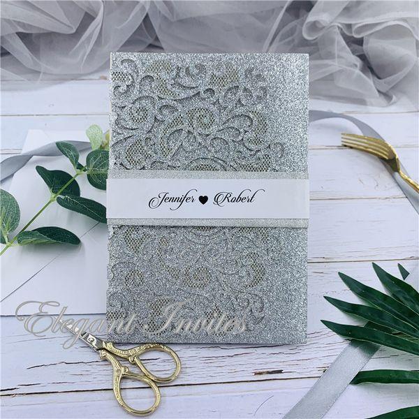 Il taglio del laser Pocket Moderna argento touch-Glitter volte con floreale e l'invito geometrica con spedizione gratuita avvolge