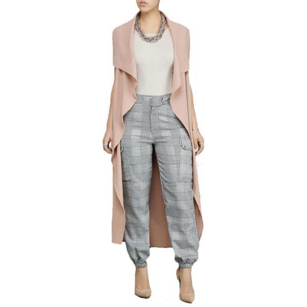 Donna Trench Summer tinta unita senza maniche Ruffles Fashion Allentato Long Coat Casual Open Stitch Cardigan