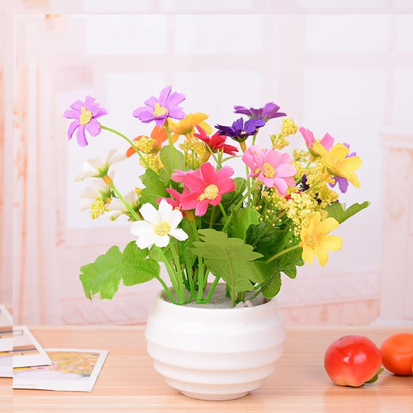 Fake Home Decoration Simulation Bright Color Artificial Flower Living Room Ornament Gift Potted Plants Restaurant Lifelike