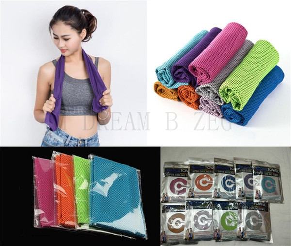 top popular 90*30cm Ice Cold Towels Cool Ice Towel Summer Sunstroke Sports Yoga Exercise Cool Quick Dry Soft Breathable Hand Towels For Kids Adult 2019