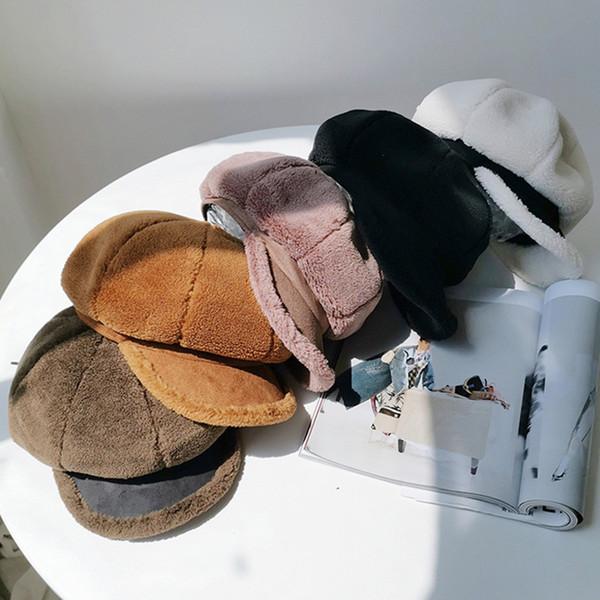 Sonbahar ve Kış Kuzu Peluş Sekizgen Şapka Sıcak Kalın Bereliler Şapka Kadın Kış Cap