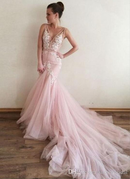 2019 New Arrival Mermaid Pink Long Prom Dress With V Neck Straps Sexy Sheer Top Low Back Teens Formal Prom Party Gown Custom Made